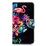Chreey Huawei Honor 7X Hülle, Leder Handyhülle Flip Case Bunt Muster Handy Schutzhülle mit Brieftasche Kartenfach Magnetverschluss [Flamingo]