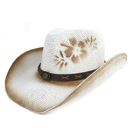 Western Cowgirls Kostüm - XIEWEICHAO Herren Hüte Western Cowboyhut Sommer Equitation Cap Damen Cowboyhüte Herren Chapeau Cowgirl Kostüm Sombrero Hombre Westernhut (Farbe : Weiß, Größe : 56-58)