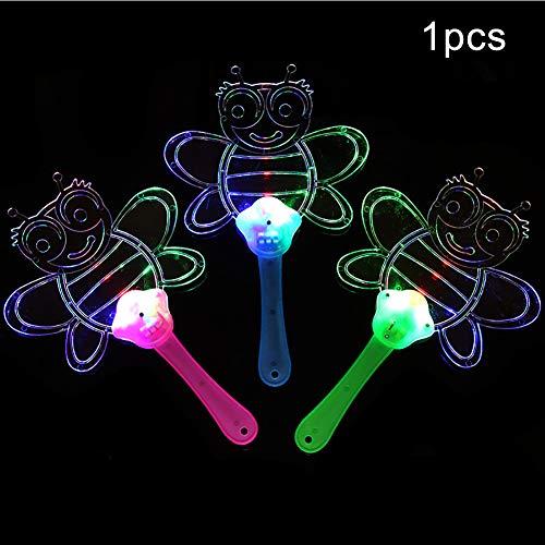 Sanwood Hand Fun, Niedliche Schmetterlingsbiene Led Leuchten Blinkende Flache Hand Fan Spielzeug Konzert Party Favors Bee# (Flach-hand-fan)