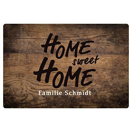 Fußmatte Home Sweet Home in Holzoptik (Mit Name) - optional mit Wunschname personalisiert - Türmatte mit Familiennamen/Wunschtext Bedruckt - Geschenkidee zur Hochzeit