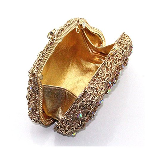 Borsa Del Diamante Del Sacchetto Di Sera Di Diamante Di Modo Delle Donne Gold