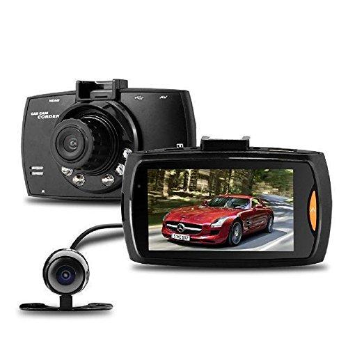 """Dashcam Cámara de Coche, WER 2.7"""" LCD 140 ° FULL HD 1080P Videocámara DVR Cámara de grabación de doble lentes Para Coche, G-Sensor, Detección de movimiento, Vision Nocturna, Soporta tarjeta TF (no incluida)"""