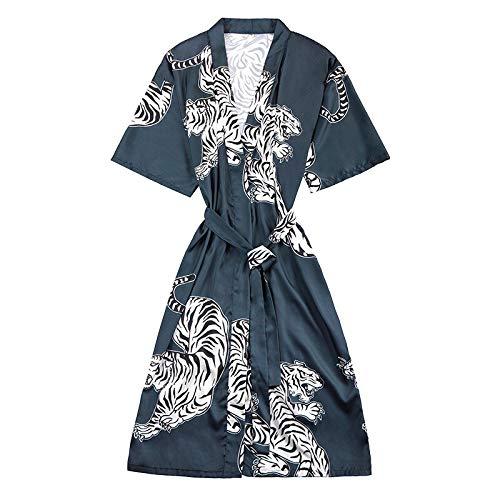 XMDNYE Sommer Satin Kimono Bademantel Frauen Braut Brautjungfer Hochzeit Robe Kleid Kleid Sexy Blume Drucken Silk Lange Nachtwäsche - Für Frauen Blue Satin Kleider