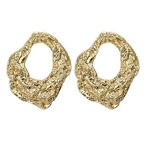 Haludock Frauen Fashion Special Geometric Irregular Hollow Pleated Round Stud Earrings Schmuck -