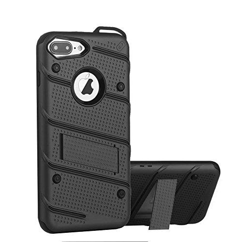 iPhone 7 PLUS Premium Hybrid Armor Case mit Kickstand Silber, ShockProof BackCover, Doppelschutz Soft TPU + Hard PC, Armor Handyhülle, Silikon, Anti-Rutsch Cover, Schutztasche, BackCover Case Schwarz