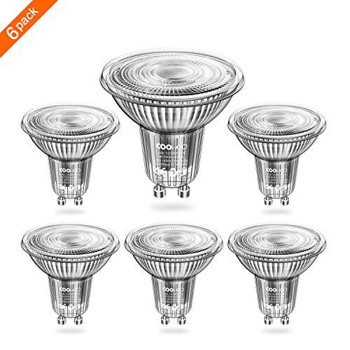 coowoo MR16 3000 K dimmbar LED-Leuchtmittel mit GU10 Sockel 50 W ersetzt Halogen Ersatz warm weiß 5 W AC 220 V - 240 V Strahler mit 450 Lumen, 40 ° Abstrahlwinkel, 6 Stück Einheiten -