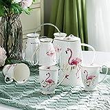Set da tè semplice da salotto Set da tè stile europeo a base di erbe in ceramica tazza da 6 Confezione Set da cucina moderno con vassoio set da acqua fenicottero - 8 set (6 tazze + 1 vaso + ripiano)
