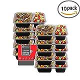 Party Bargains Fiambrera de trabajo Plástico 2 Compartimentos Rectangular Bento Box Reutilizable Tapers para Comida Hermético – Juego de 10