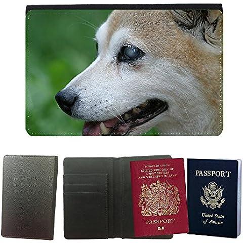 Couverture de passeport // M00135226 Shiba Inu Perro Ciego Sonrisa Perfil // Universal passport leather cover