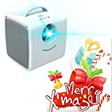 Projektor HD Video, Mini Projektor 700 Lumen Kinder Bildung Kindergeschenk Eltern-Kind-Portable Projektor Mini LED TV Home Beamer,Blue