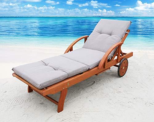Famous Home GRASEKAMP Qualität seit 1972 Auflage Sand für Gartenliege Liegestuhl Sonnenliege Relaxliege Polster