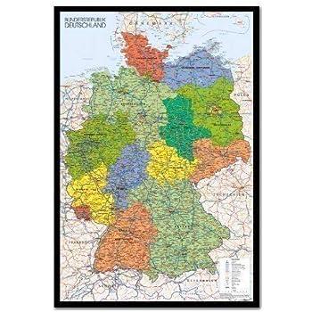 Deutschland Karte Bundesländer Schwarz Weiß.Iposters Deutschland Karte Pinnwand Kork Board Mit Pins Gerahmt In