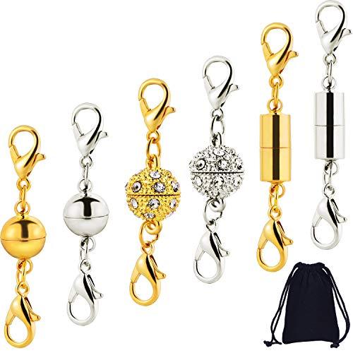 12 Stücke Magnetverschluss Magnetische Karabinerverschlüsse für Halskette Armband Schmuck, Strass Ball Stil, Zylindrische und Ball Ton Karabinerverschluss (Silber und Gold) - Silber-gold-ton
