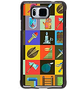 Printvisa Check Pattern With Different Contents Back Case Cover for Samsung Galaxy Alpha G850