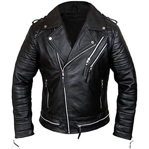 F&H Men's Genuine Lambskin Leather Biker Motorcycle Jacket
