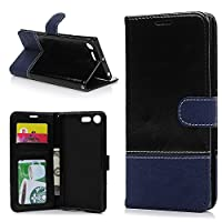 Sony Xperia XZ Premium Wallet Case, YOKIRIN Premium Crazy Horse Pattern PU Leather Protective Wallet Case Flip Cover with Card Slots, Flip Magnetic Closer & Kickstand For Sony Xperia XZ Premium, Blue + Black