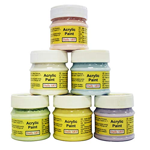 Daily ART Premium Craft Acrylfarbe Set Pastellfarben 6 x 50 ml Hoch-Deckend Farben zum Malen & Zeichnen