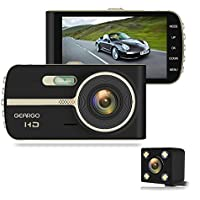 Dash Cam, GEARGO Dashboard Camera Full HD 1080P On-Dash Car Video Recorder 4 Inches Large Display Screen Car DVR, Dash Cams for Cars Front and Rear with Night Vision, Wide Angle, G-Sensor, Loop Recording