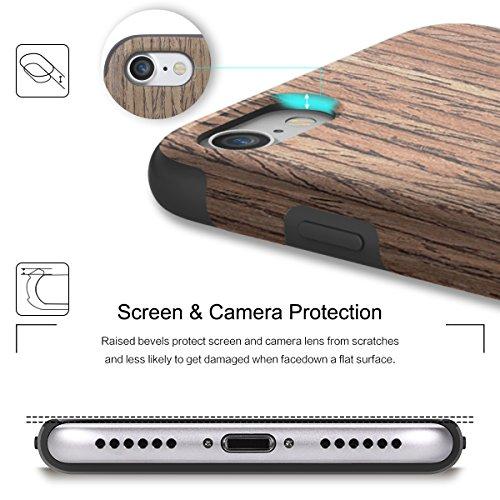 Custodia iPhone 6 Plus/6s Plus,ROCK Vero Naturale Venatura del Legno Custodia Caso,[Morbido TPU][Doppio Strato]per iPhone 6 Plus/6s Plus(5,5 inch) - Rosa nera Rosa nera