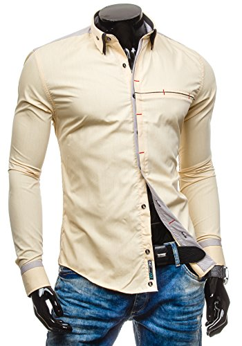 BOLF - Chemise casual - à manches longues – BOLF 5804 - Homme Camel