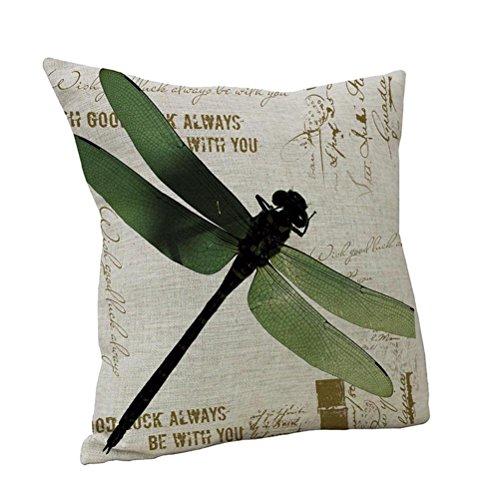 Nunubee Nette Gedruckt Dragonfly Leinenbaumwoll Dekorative Kissen Kissen Abdeckungs Fall Grün -