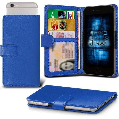 Galaxy A7 / Galaxy A7 Duos Titular de la tarjeta identificación de la carpeta de muelle ajustable cubierta de la caja (Azul) Plus de regalo libre, Protector de pantalla y un lápiz óptico, Solicitar ahora mejor caja del teléfono Valorado en Amazon! By FinestPhoneCases