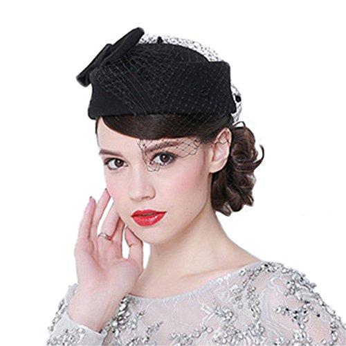 Mujeres Chicas Modernos Mantilla Schleife Sombrero Cloché Sombrero de Pesca Sombreros de Boda Negro