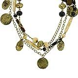 behave Collana a catena a fili multipli color oro antico - Collana di perline con pendenti in monete - Collana di pendenti per lei