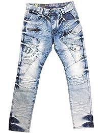 Eto Jeans Funky Blue Acid Stonewashed Casual Denim Regular Thigh Tapered Leg