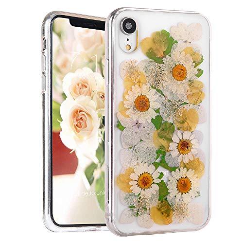 Echte Blume Hülle für iPhone XR Elegante Feibili Weiche Silikon iPhone XR Cover mit Handgemachten gepressten getrockneten Blumen Transparent Ultra Dünn Ultra Light Skin für iPhone XR, Grün/Blumen (Getrockneten Gepressten Blumen)