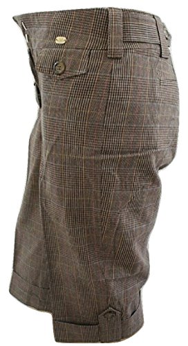 Ted Baker Check Turn Up Cropped Trousers Natural Stone 40