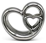 FeinKnick Stilvolles Doppel- Herz zur Dekoration - modernes Dekoherz 21 cm groß in Silber - Deko in Herzform gut als Geschenk für Weihnachten geeignet
