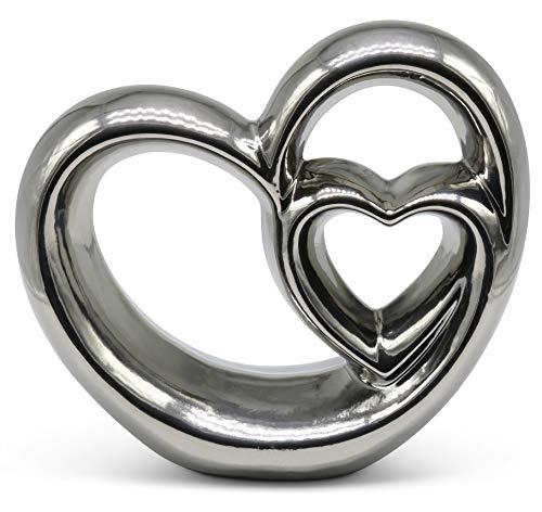 FeinKnick Stilvolles Doppel- Herz zur Dekoration - modernes Dekoherz 21 cm groß in Silber - Deko in...