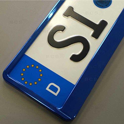 Preisvergleich Produktbild imex 2 Stück Kennzeichenhalter BLAU Hochglanz metallic Optik Nummernschildhalter