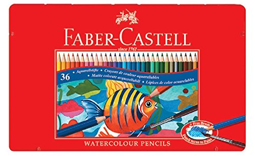 Faber-Castell 115931 – Estuche de metal con 36 lápices de color acuarelables, multicolor