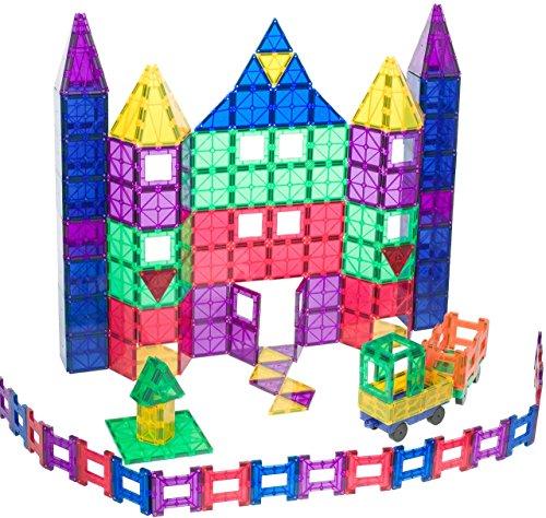 Playmags 150-teiliges Mega-Set: Jetzt mit stärkeren Magneten, robust, super haltbar mit klaren, klaren Farbfliesen. 18-teiliges Clickins-Zubehör zur Steigerung Ihrer Kreativität. -