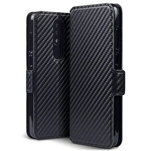 TERRAPIN, Kompatibel mit Nokia 5.1 Plus Hülle, Leder Tasche Case Hülle im Bookstyle mit Standfunktion Kartenfächer - Schwarz Karbonfaser Dessin EINWEG