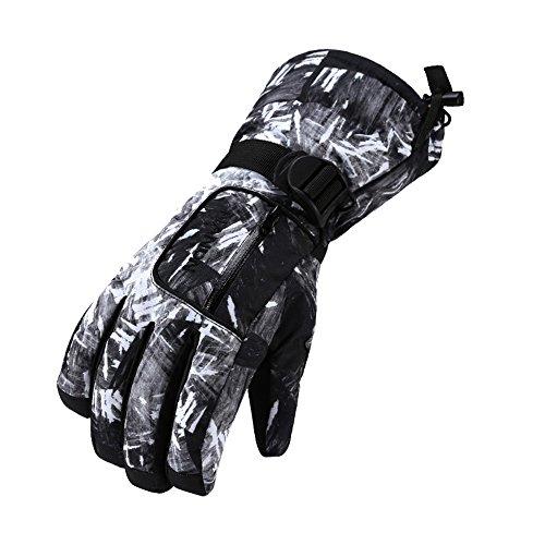 Rmine Ski Handschuhe Winddicht Wasserdicht Thermohandschuhe für Junge Kinder(6-14 Jahre) (M(9-14 Jahre alt), Schwarz-weiß)