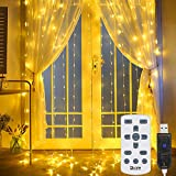 ICARE Lichterkette,LED Lichterkette außen 300 LEDs Wasserdicht mit 8 Lichtmodelle für Party deko schlafzimmer Hochzeit Weihnachtsbeleuchtung Innen-Außenbeleuchtung Lichtervorhang