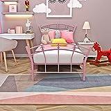 Autofamily Cadre de lit en métal, Lit Simple en Forme de Coeur, 95 x 198 cm, Rose,...