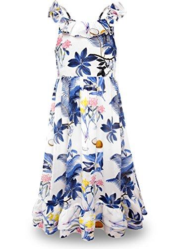 BONNY BILLY Mädchen Kleider Sommer Freizeit Chiffon Blumen Ärmellos Boho Strandkleid Maxikleid mit Rüschen 11-12 Jahre/146-152 Blau