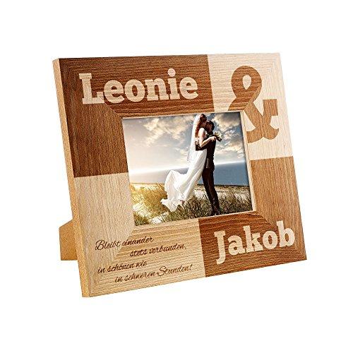 ahmen mit Gravur - Zur Hochzeit - Personalisiert mit Namen und Datum - Rahmen aus Holz - Hochzeitsgeschenk - Geschenk-Idee für Paare ()