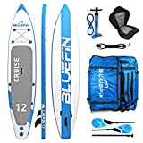 Bluefin SUP Cruise, Tavola da Surf con Kit di trasformazione in Kayak Rigido Monoposto (seggiolino, pagaia, Pompa, Sacca Trasporto) Unisex, Blu (Blue), 12'