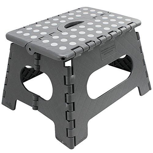 com-four® Klapptritt mit Gumminoppen, Tragbarer Klapp-Hocker in grau, belastbar bis zu 150 kg, 31 x 22 x 22 cm (31 x 22 x 22 cm grau - 01 Stück)