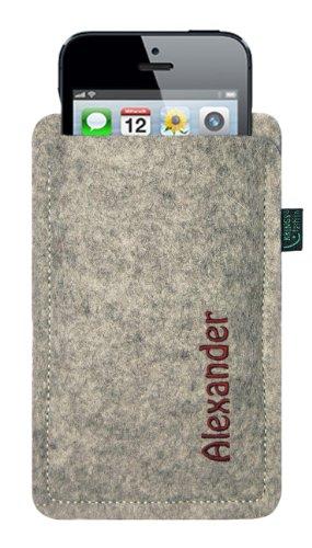 Filztasche für iPhone SE und iPhone 5/S, hellgrau, mit Name oder Wunschbegriff bestickt, Stickfarbe anthrazit, 100 % Wollfilz, verschiedene Stickfarben zur Auswahl, Übermittlung Ihres Wunschbegriffs s Stickfarbe weinrot