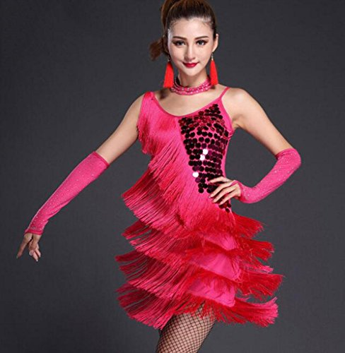 Tanzsport Muster Kostüm - FGDJTYYJ Latin Dance Rock Kostüm Anzug Erwachsene weibliche Pailletten Quaste Kleid, XL