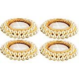 Bombay Haat Pearl Tealight Candle Holders/Diwali Diya + 4 Free Tealight Candles For Home Décor/Diwali Decoration/Diwali Gift (Set Of 4)