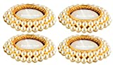 #3: Bombay Haat Pearl Tealight Candle Holders/Diwali Diya + 4 Free Tealight Candles for Home Décor/Diwali Decoration/Diwali Gift (Set of 4)