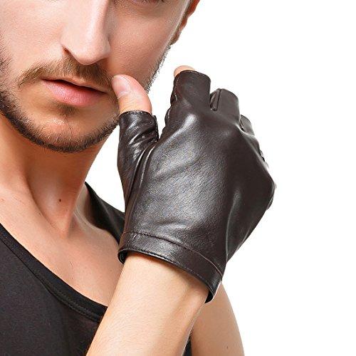 Nappaglo les doigts de gants importés classique de doublure en soie à moitié doigt de peaux d'extérieur (l (gants de conduite à vélo de palm circonférence:19-20.3cm), brown)