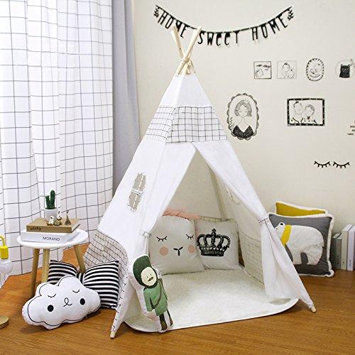 Tienda india Tipi, Tienda Campaña Infantil para niños/ Casa de juego de lona de algodón + Madera de Pino - Dibujo Cuadro